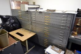 Furniture Consisting of: (6) 5-drawer blueprint cabinets, (3) desks, (2) chairs & file cabinet