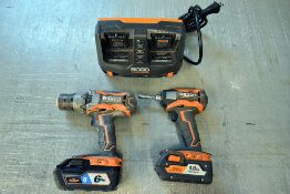 {LOT} A Group of Ass't Ridgid Drills & Charger