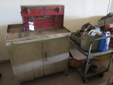 Tool Box and Cabinet w/ Misc