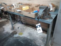 """4"""" Bench Vise w/ Work Bench (SOLD AS-IS - NO WARRANTY)"""