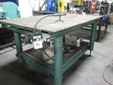 "48"" x 70"" Steel Soldering Table w/ (2) Propane Tanks and (1) Soldering Wand (SOLD AS-IS - NO"