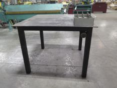 """48"""" x 48"""" Steel Table w/ 3"""" Forming Bar (SOLD AS-IS - NO WARRANTY)"""