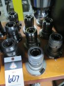 """CAT-50 Taper 1 1/4"""" and 1"""" Straight-Collet Collet Chucks (9) (SOLD AS-IS - NO WARRANTY)"""