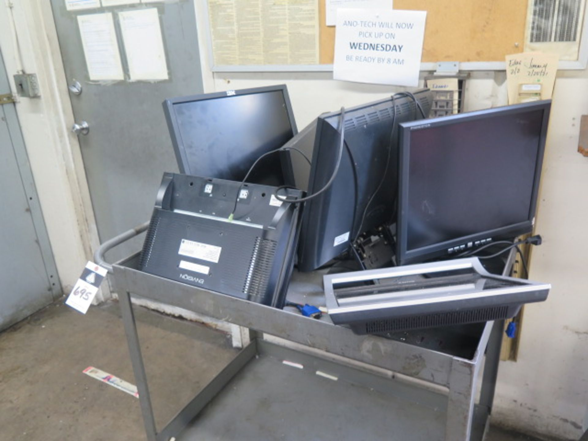 Computer Monitors w/ Cart (SOLD AS-IS - NO WARRANTY)