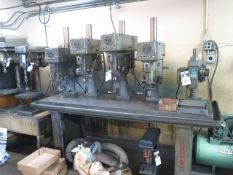 """Clausing 4-Head Gang Drill Press w/ 5-Speed Heads, 24"""" x 80"""" Table (SOLD AS-IS - NO WARRANTY)"""
