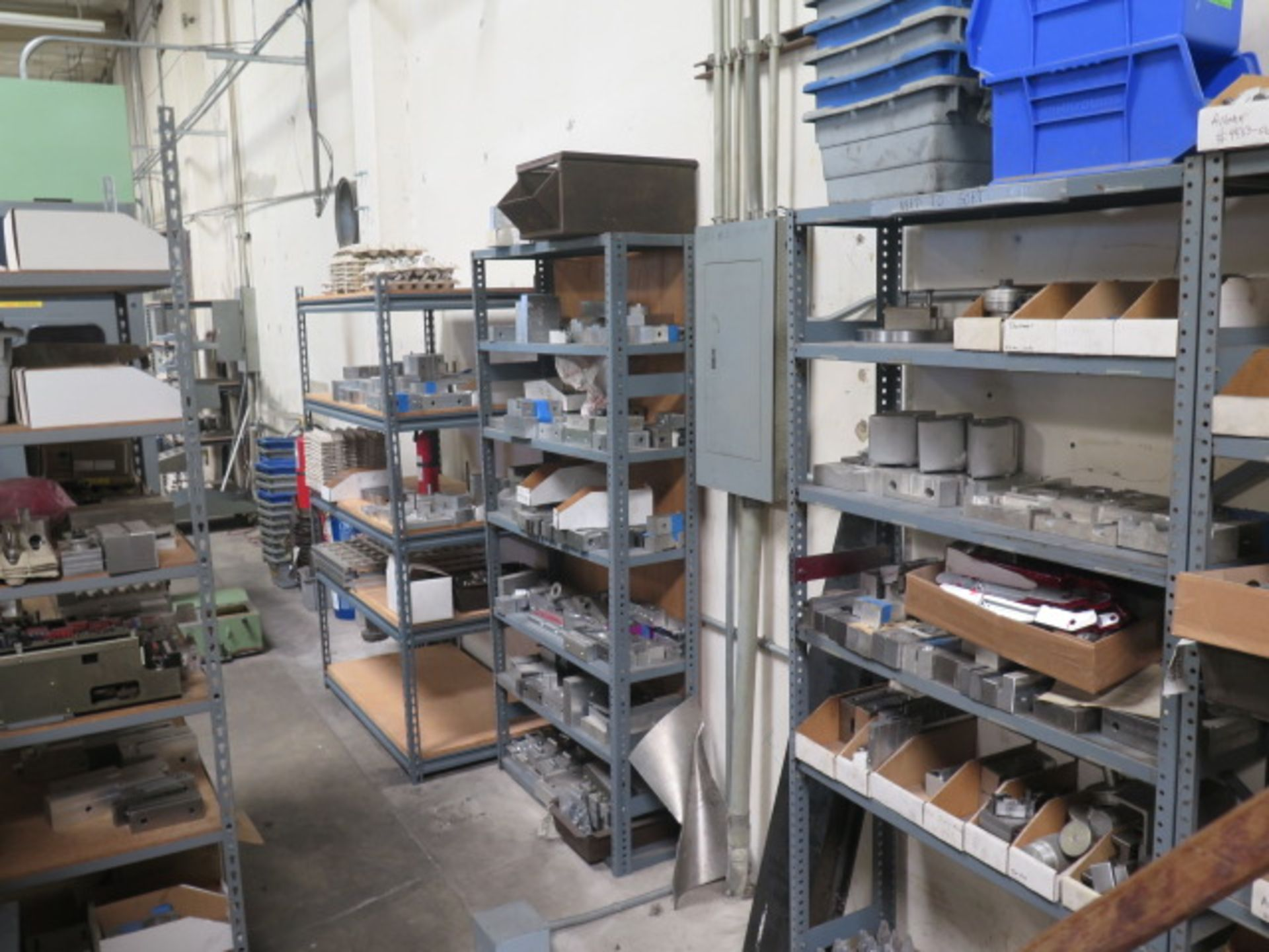 Vise Jaws, Fixtures and Misc w/ (7) Shelves (SOLD AS-IS - NO WARRANTY)