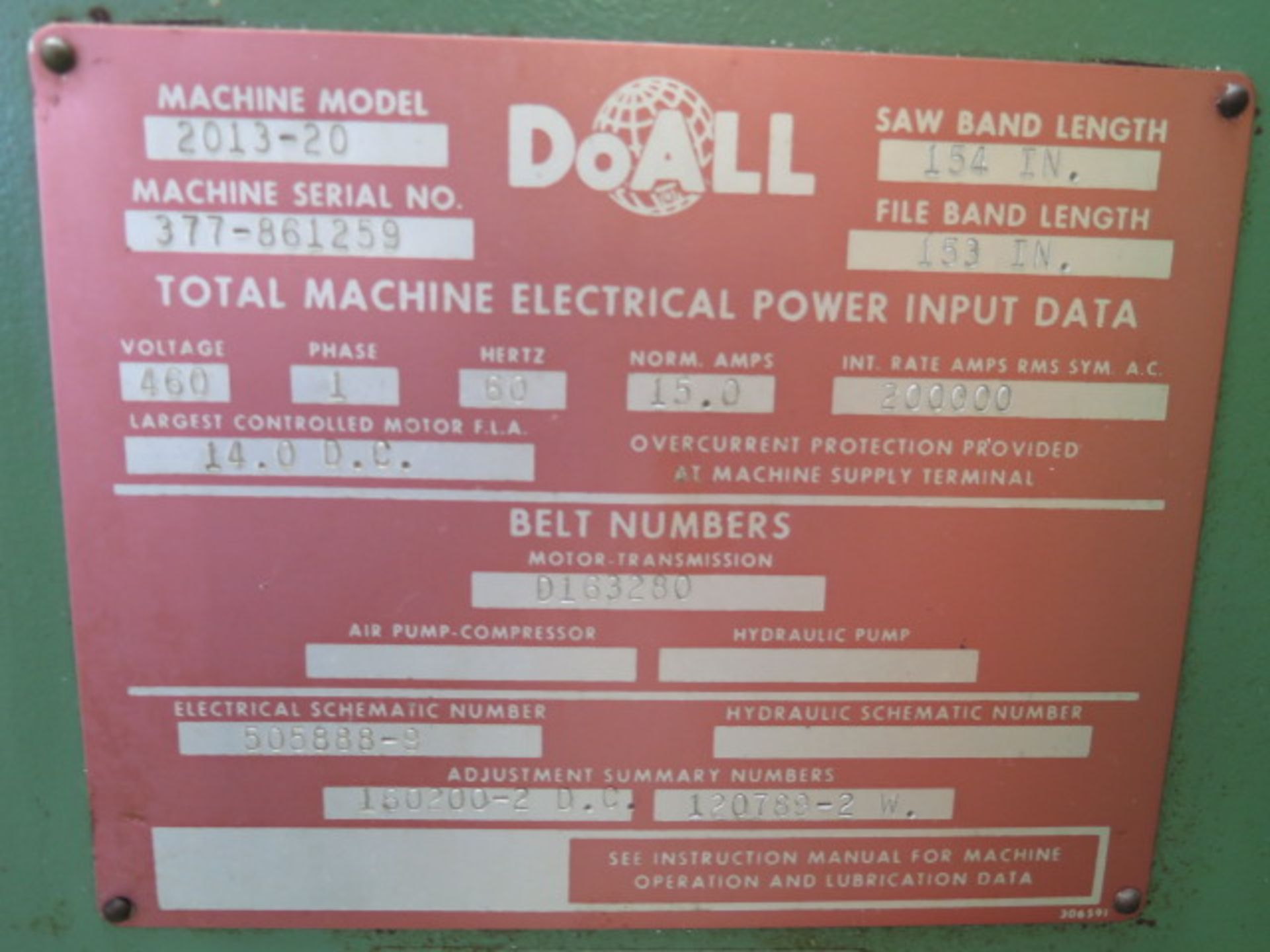 "DoAll 2013-10 20"" Vertical Band Saw s/n 377-861259 w/ Welder, 0-5200 RPM 26"" x 26"" Table, SOLD AS IS - Image 11 of 11"