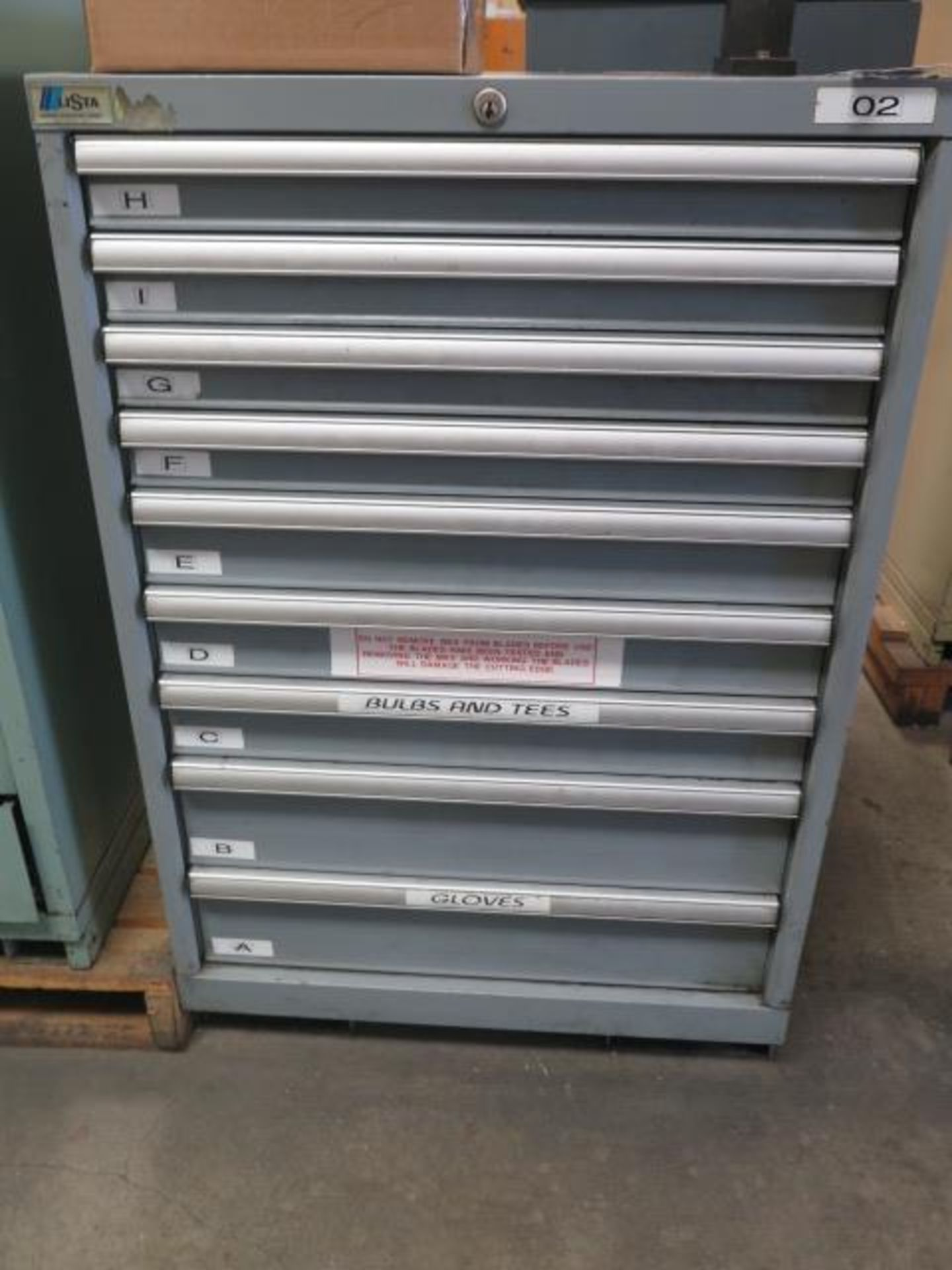Lista 9-Drawer Tooling Cabinet w/ Mill Clamps (SOLD AS-IS - NO WARRANTY)