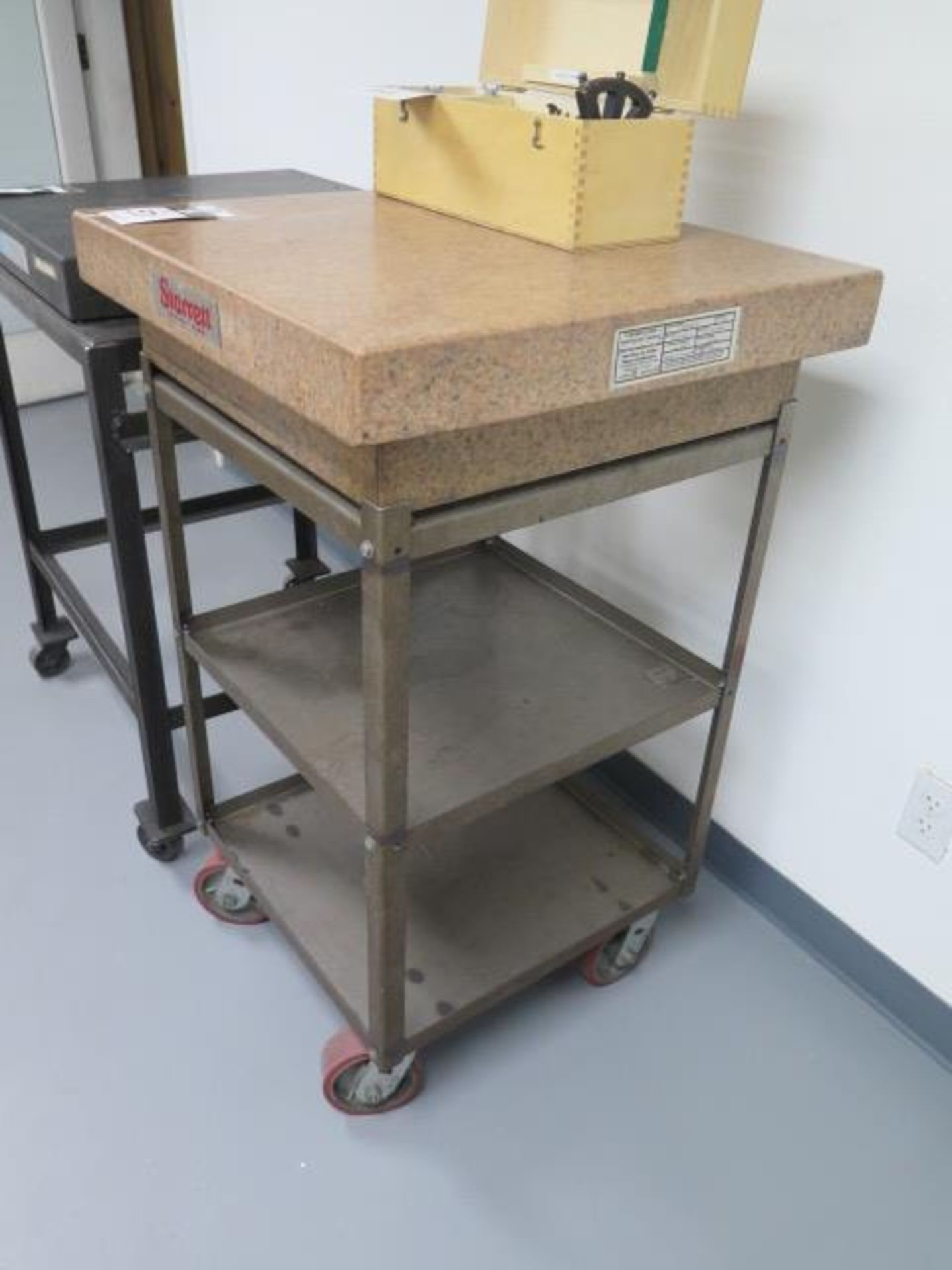 "Starrett Crystal Pink 24"" x 24"" x 6"" 4-Ledge Granite Surface Plate w/ Roll Stand (SOLD AS-IS - NO - Image 2 of 5"