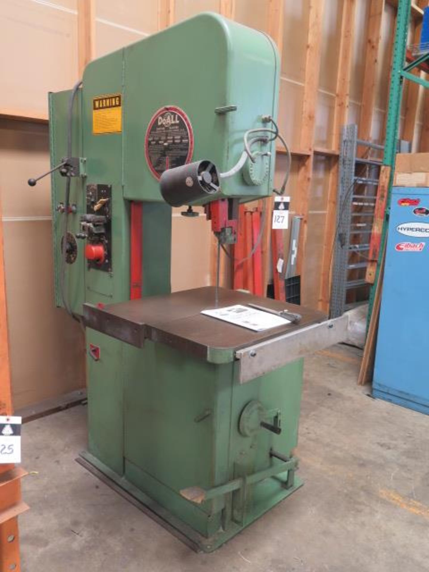"DoAll 2013-10 20"" Vertical Band Saw s/n 377-861259 w/ Welder, 0-5200 RPM 26"" x 26"" Table, SOLD AS IS"
