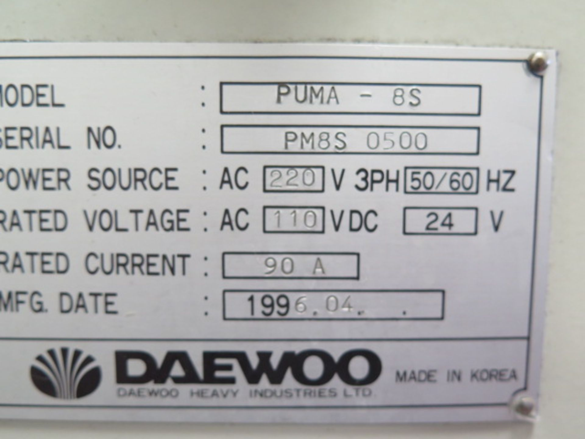 1996 Daewoo PUMA 8S CNC Turning Center s/n PM8S0500 w/ Mits Controls, Tool Presetter, SOLD AS IS - Image 14 of 14