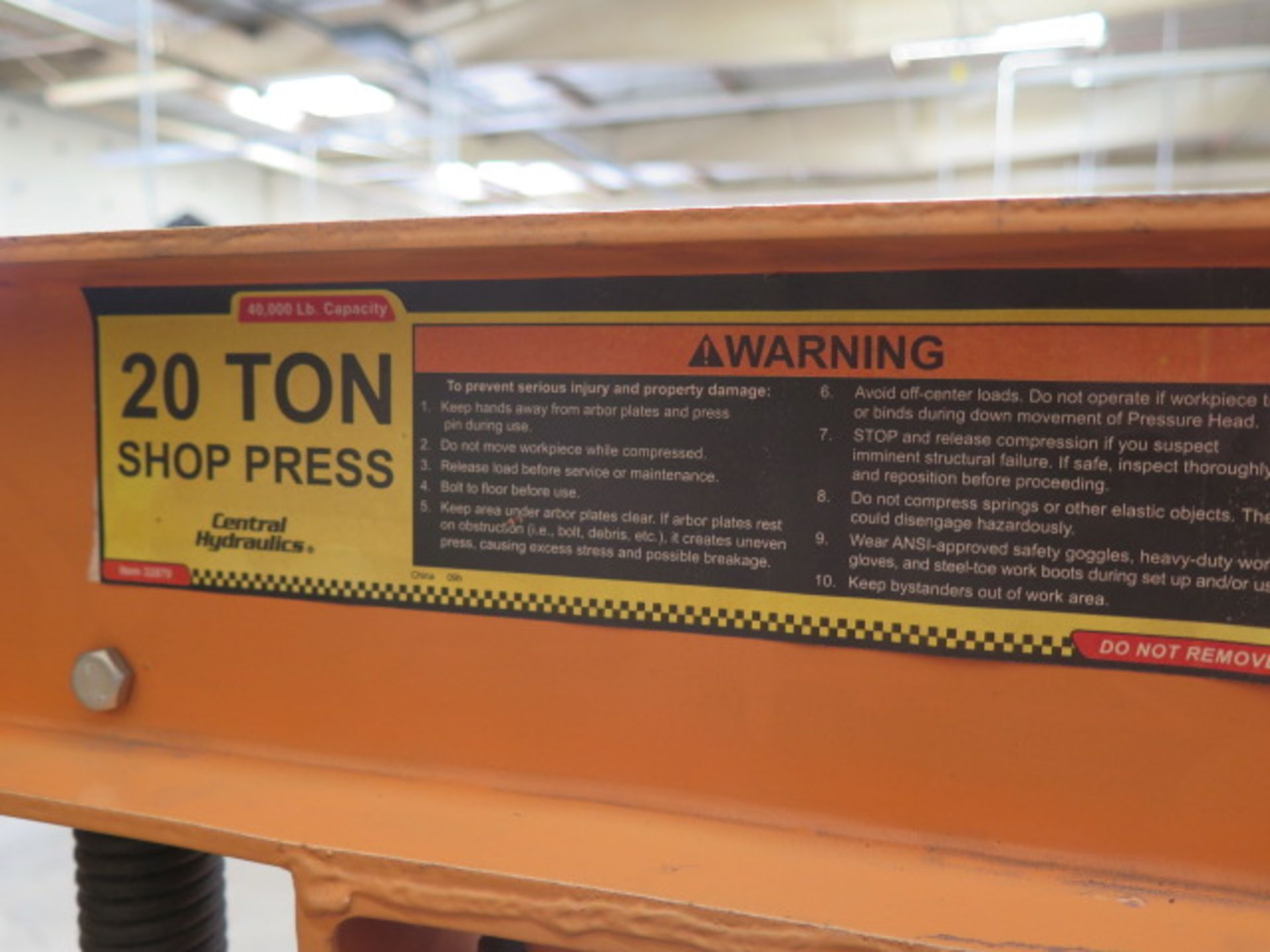 Central Hydraulics 20 Ton Hydraulic H-Frame Press (SOLD AS-IS - NO WARRANTY) - Image 5 of 5