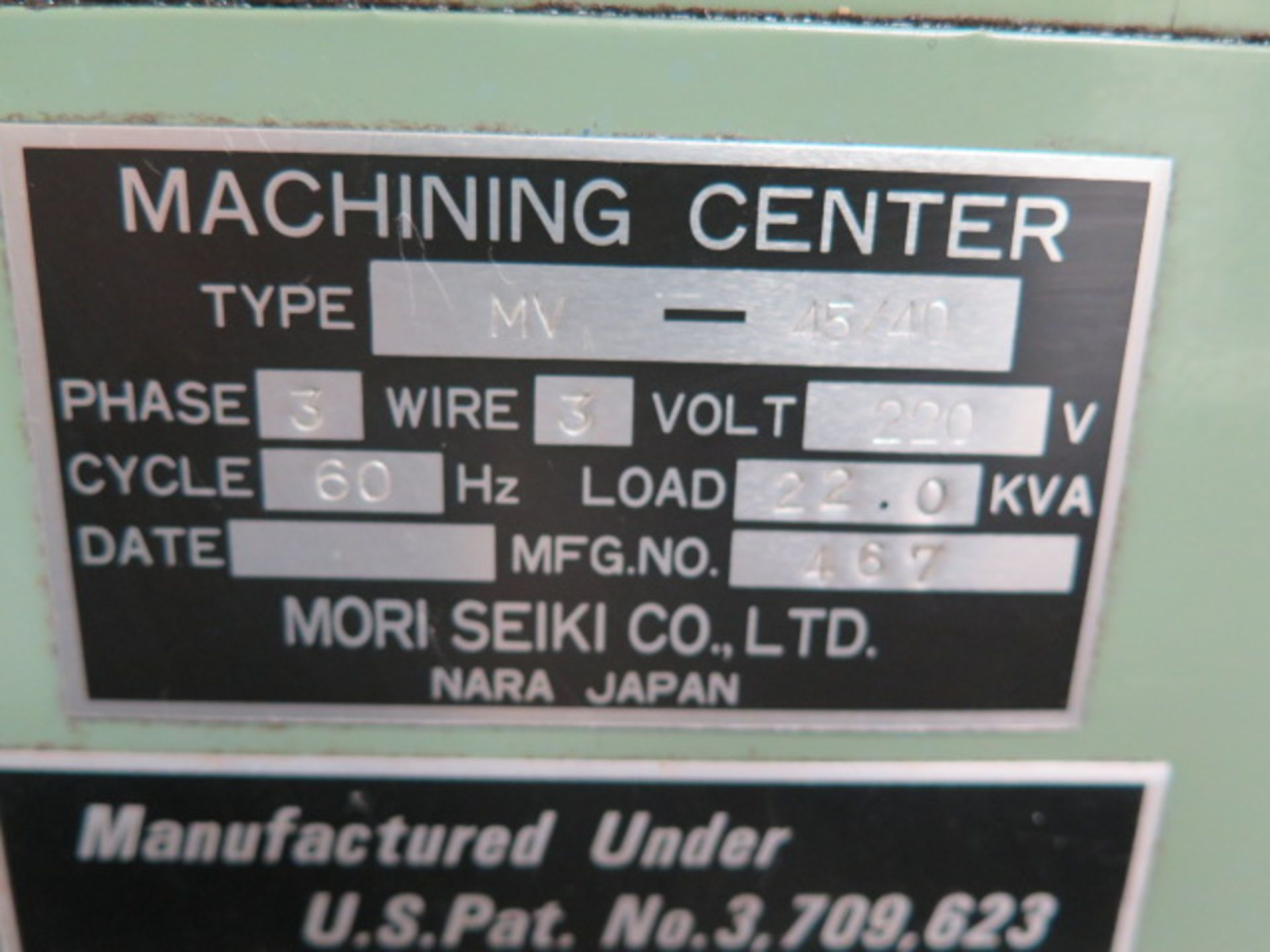 Mori Seiki MV-45/40 CNC VMC s/n 467 w/ Fanuc System 6M Controls, 20 ATC, SOLD AS IS - Image 14 of 14