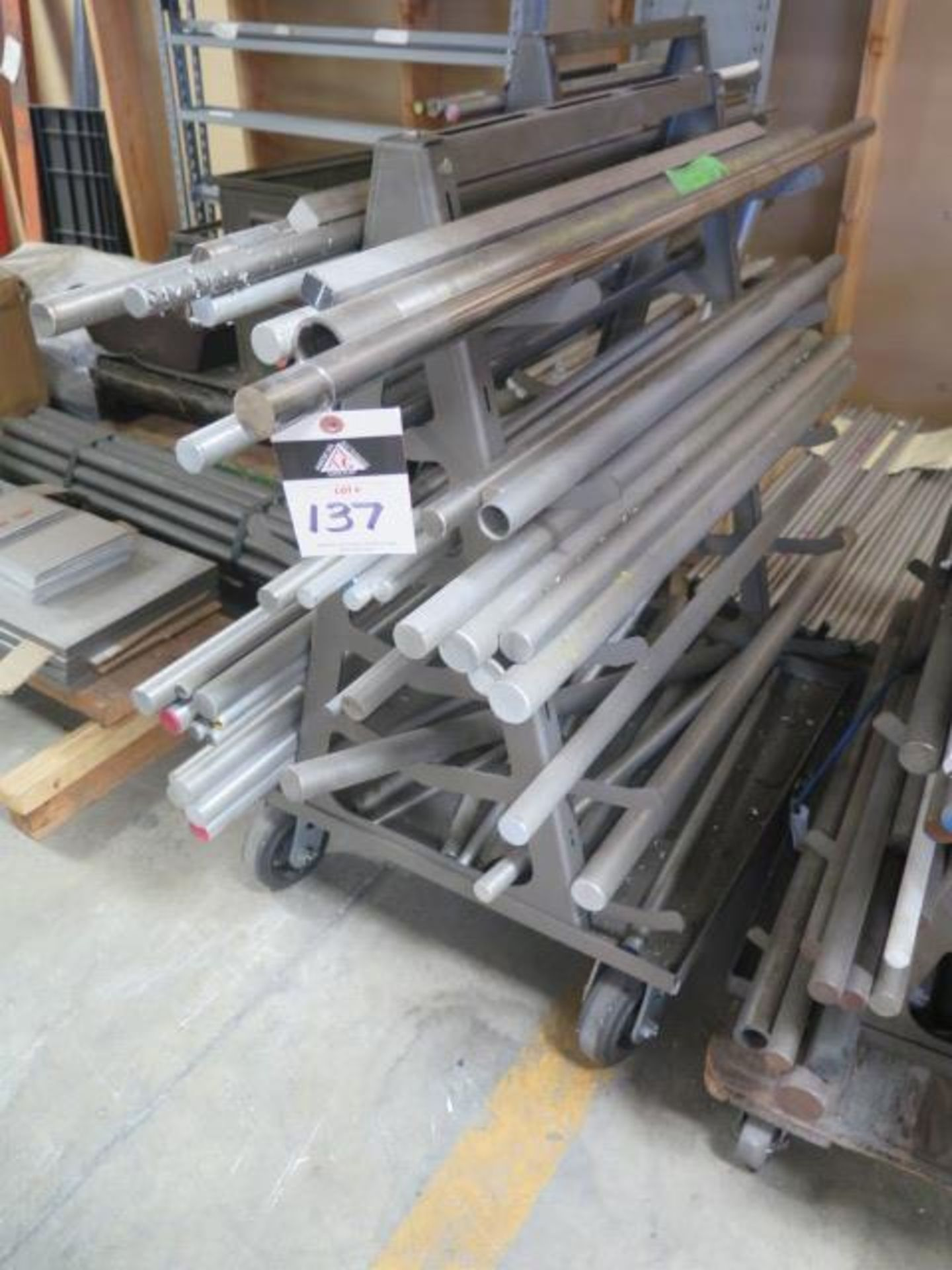 Misc Raw Materials w/ Rolling A-Frame Racks (SOLD AS-IS - NO WARRANTY) - Image 3 of 4