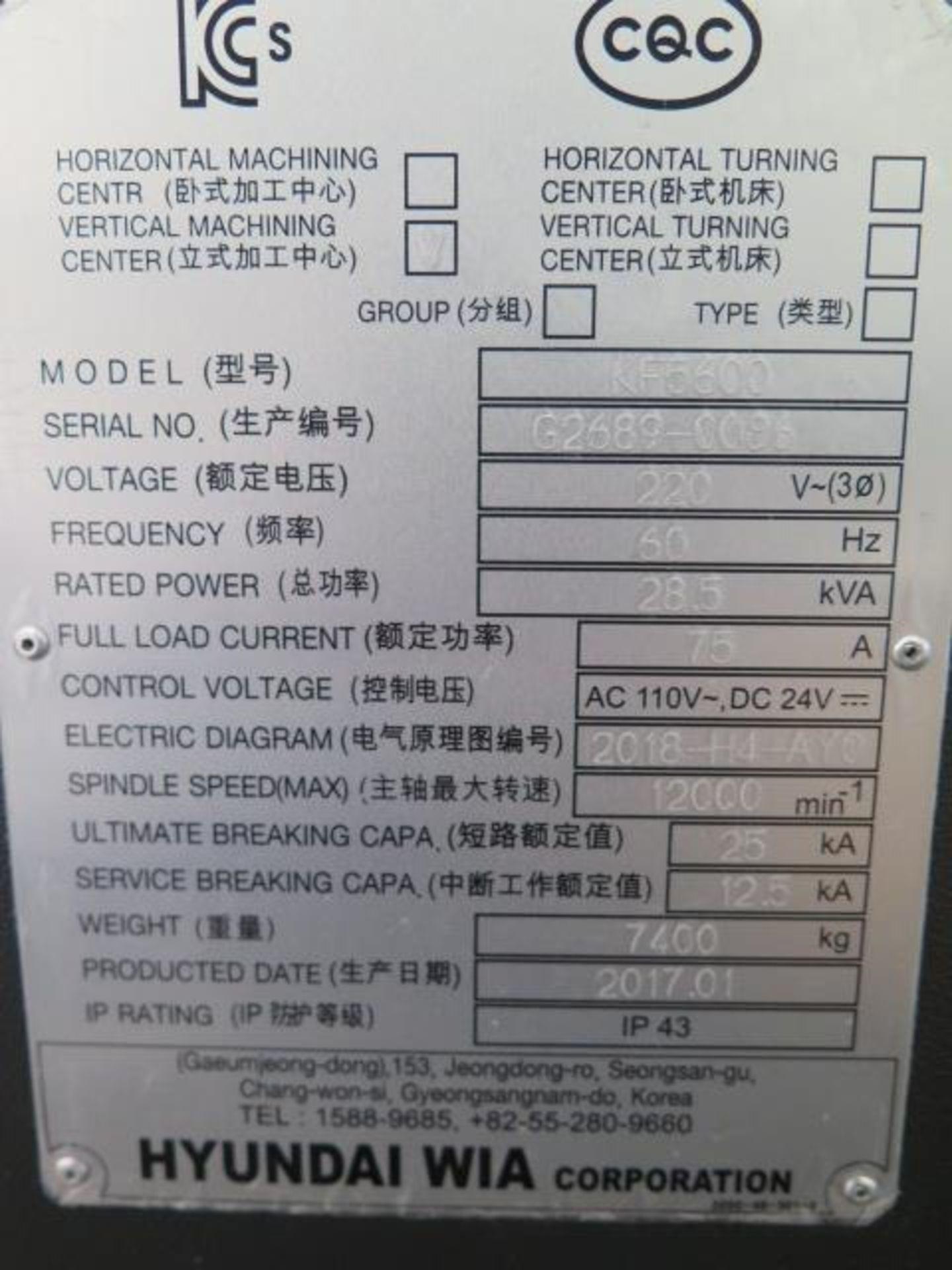2017 Hyundai WIA KF5600 CNC VMC s/n G2689-0086 w/ Hyundai WIA Fanuc i-Series, SOLD AS IS - Image 22 of 22