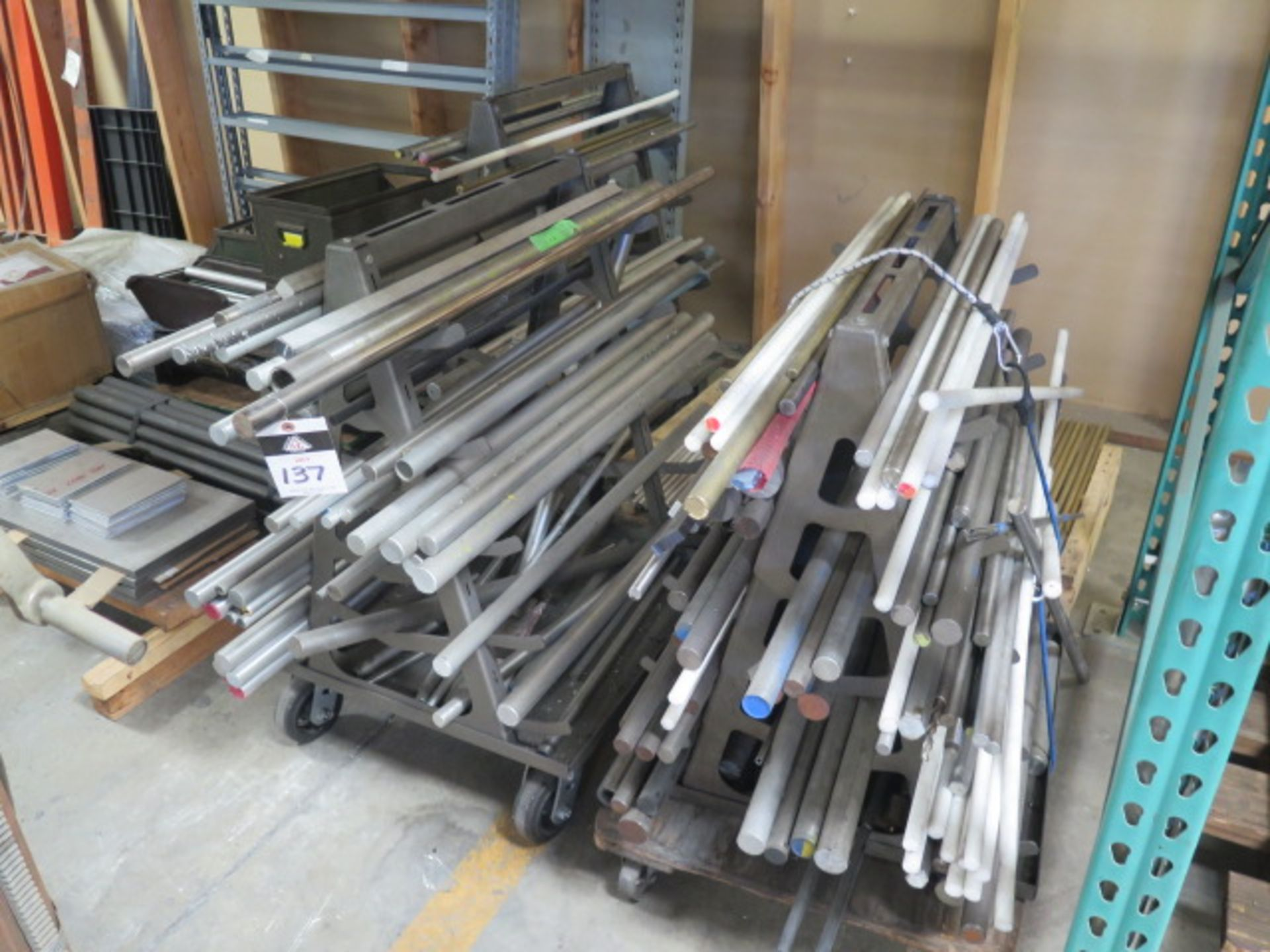 Misc Raw Materials w/ Rolling A-Frame Racks (SOLD AS-IS - NO WARRANTY)