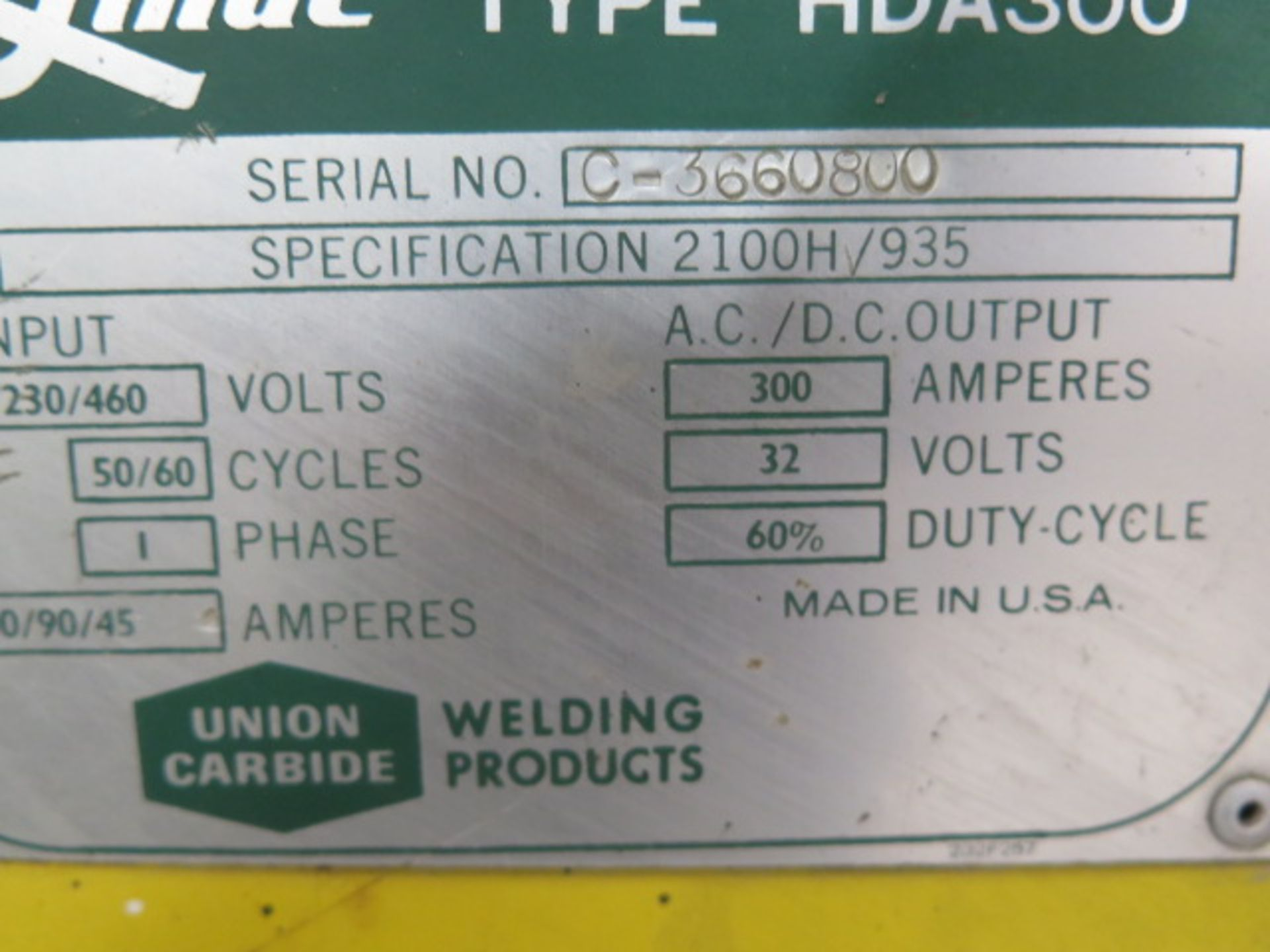 Linde HAD-300 AC/DC Arc Welding Power Source s/n C-3660800 (SOLD AS-IS - NO WARRANTY) - Image 5 of 5