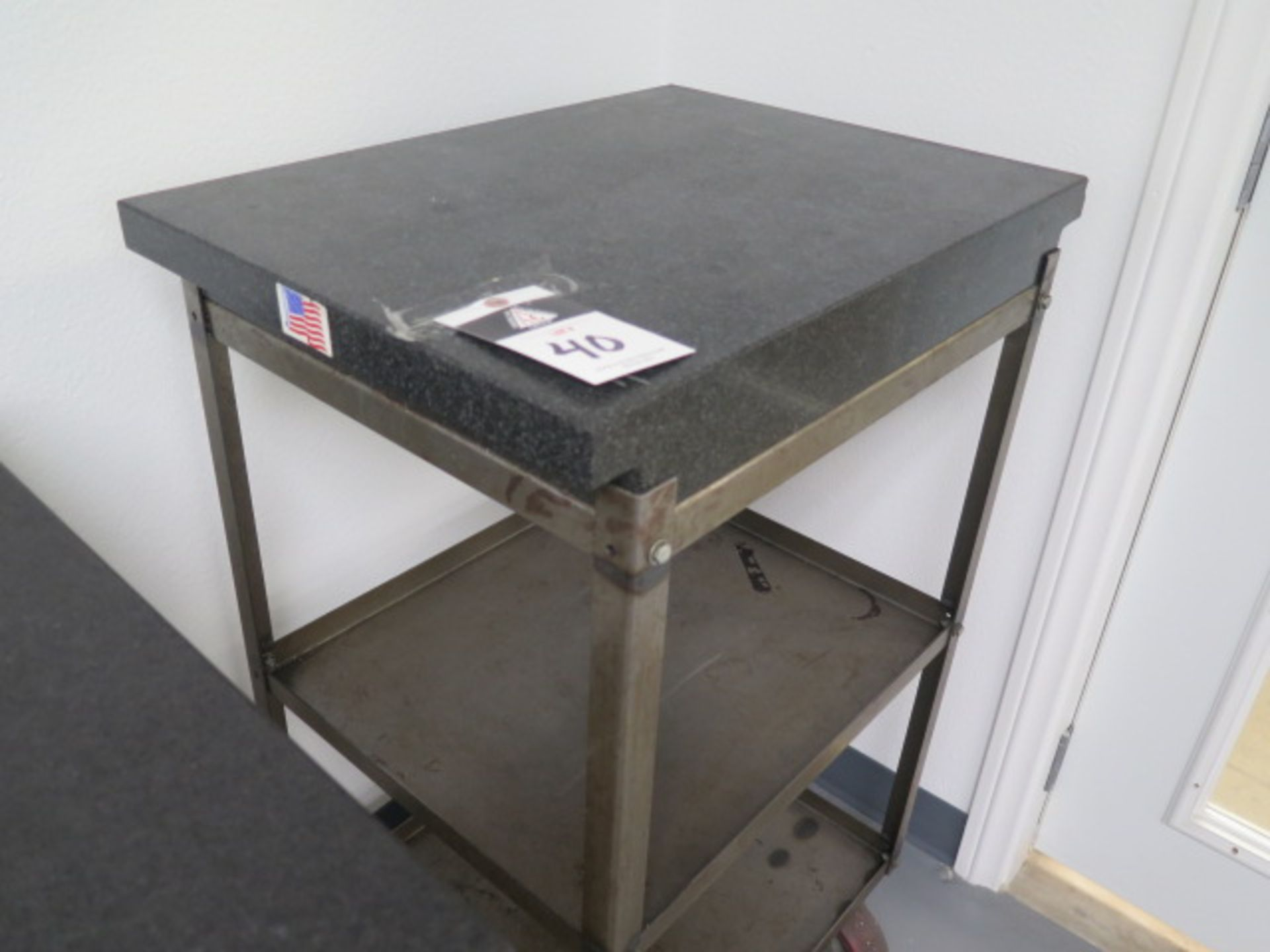 """18"""" x 24"""" x 4"""" 2-Ledge Granite Surface Plate w/ Roll Stand (SOLD AS-IS - NO WARRANTY) - Image 2 of 4"""
