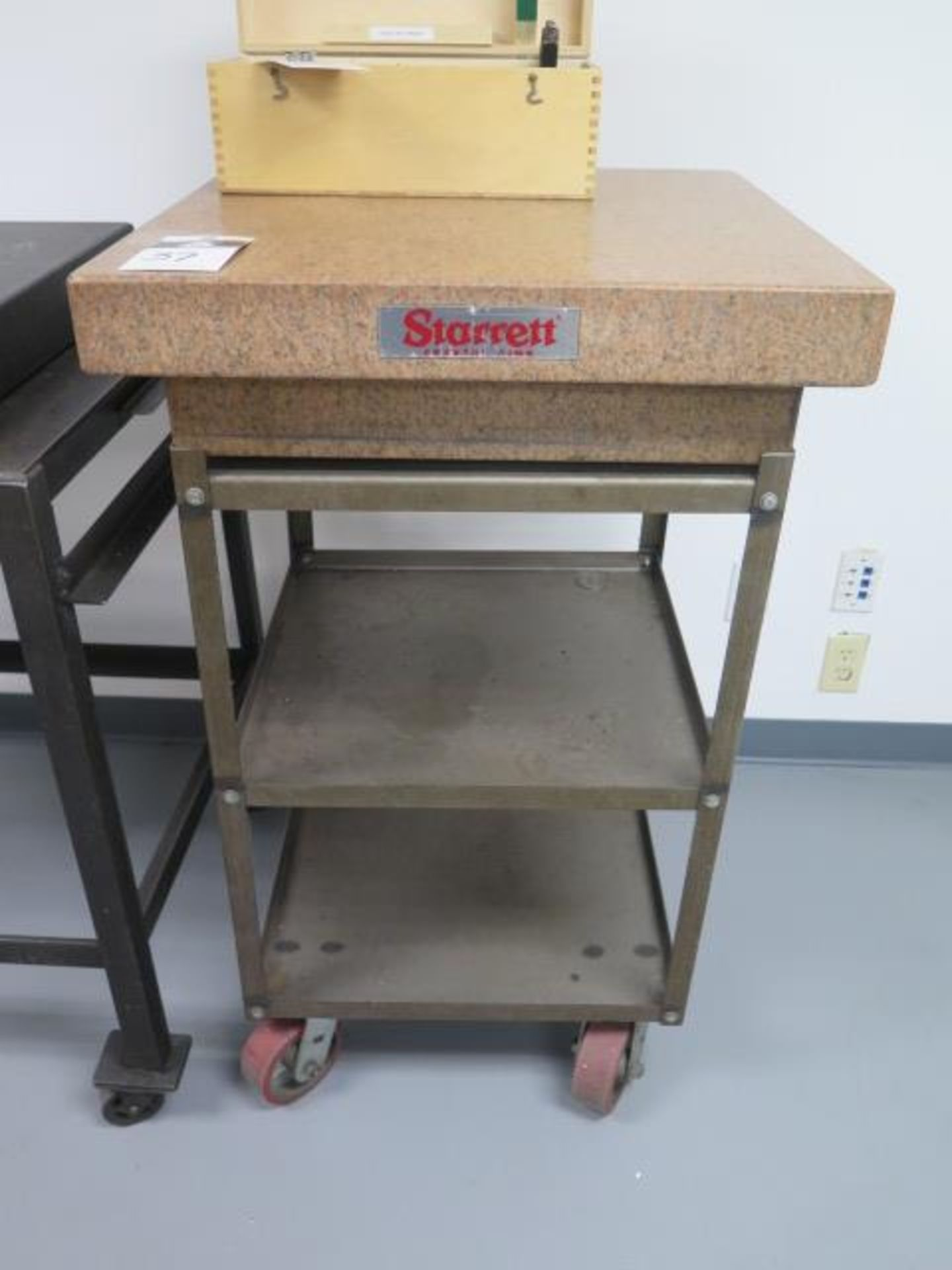 "Starrett Crystal Pink 24"" x 24"" x 6"" 4-Ledge Granite Surface Plate w/ Roll Stand (SOLD AS-IS - NO"