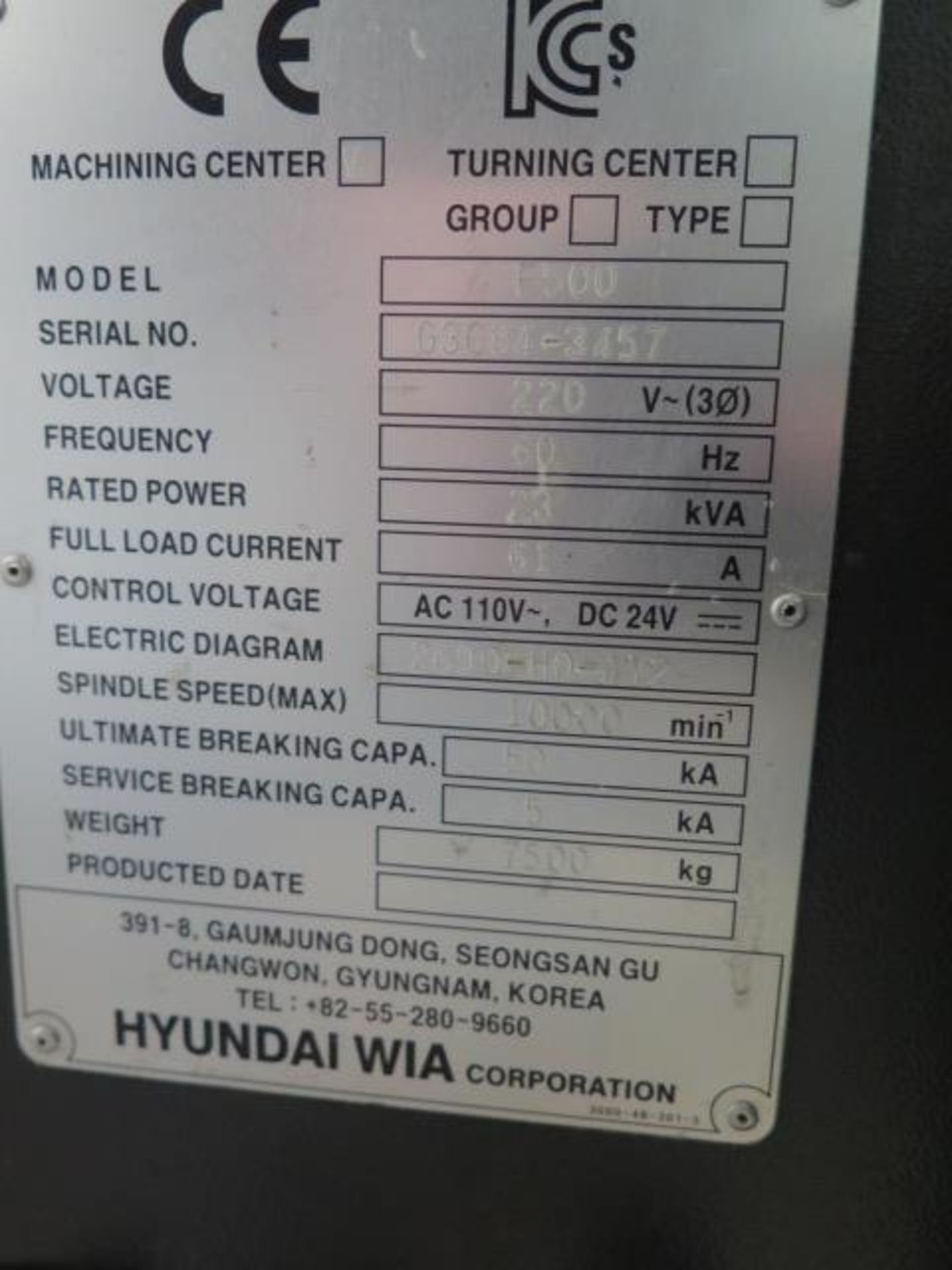 2016 Hyundai WIA F500 4-Axis CNC VMC s/n G3684-3457 w/ Hyundai WIA Fanuc i- Series, SOLD AS IS - Image 22 of 22