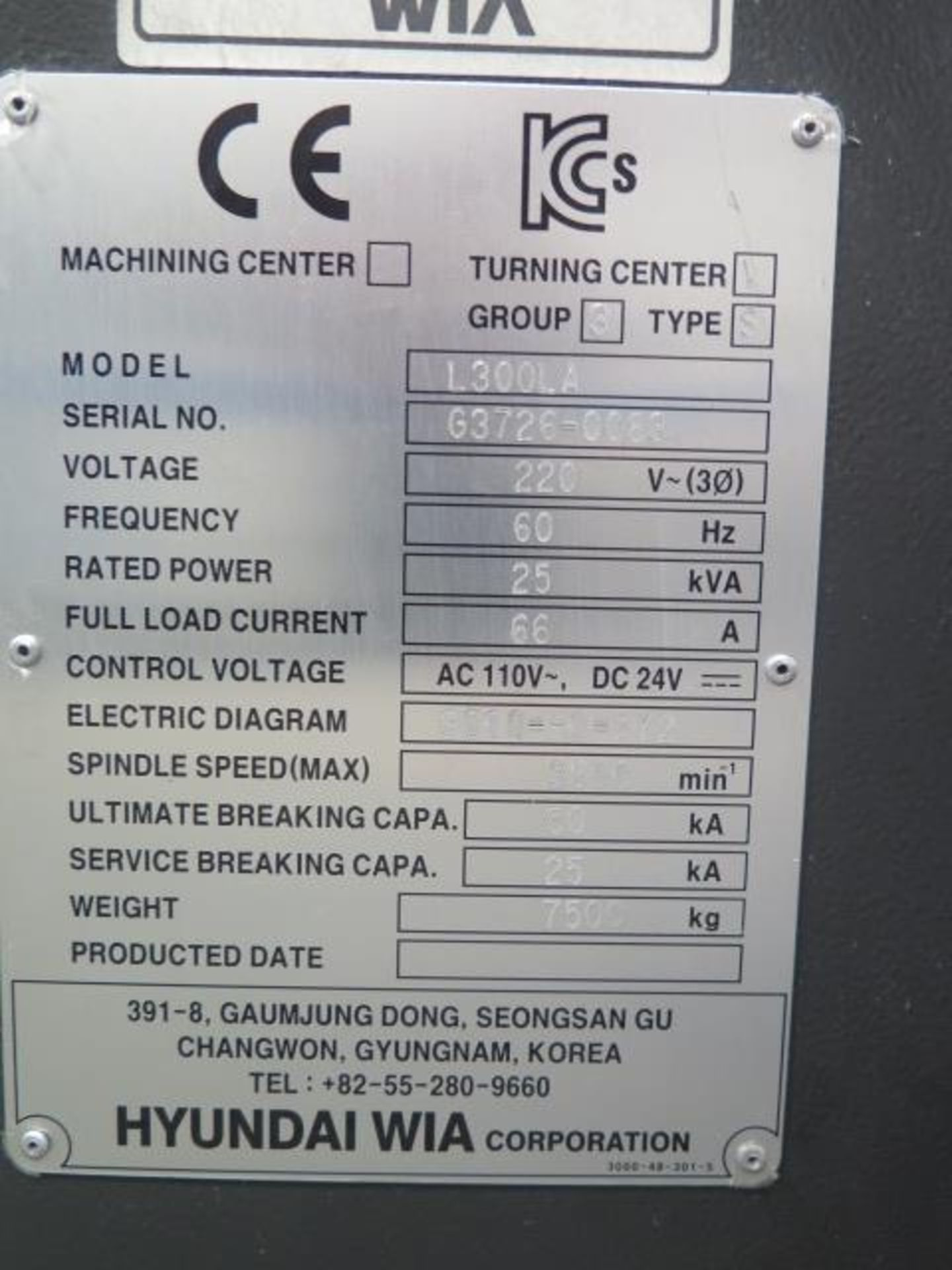 2016 Hyundai WIA L300LA CNC Turning Center s/n G3726-0083 w/ Fanuc i-Series Controls, SOLD AS IS - Image 19 of 20