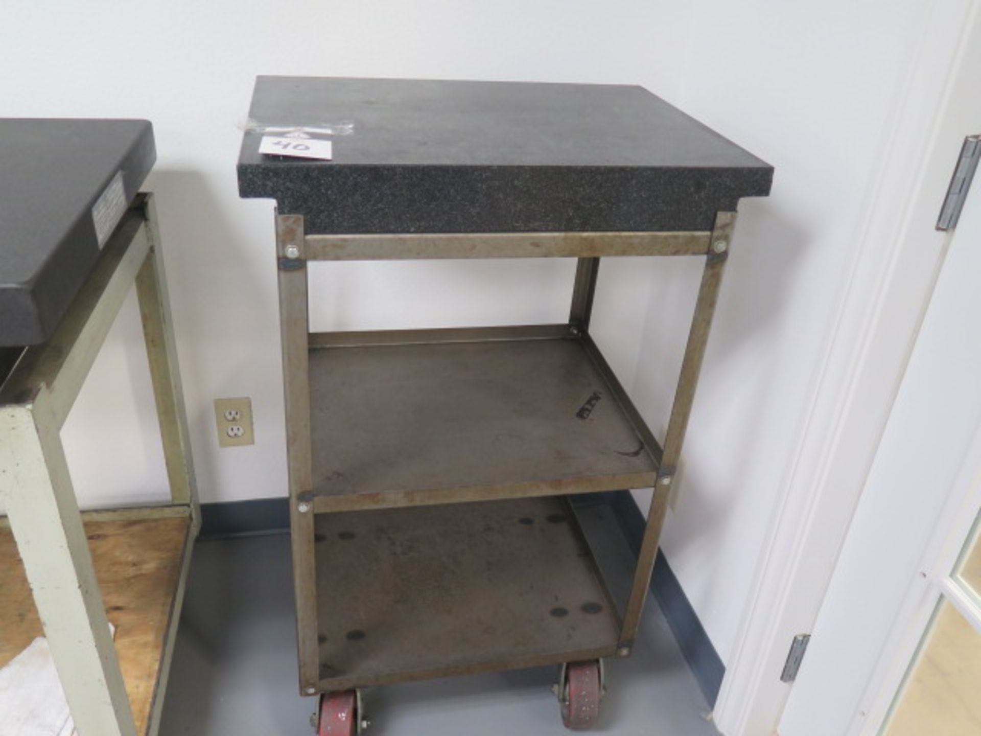 """18"""" x 24"""" x 4"""" 2-Ledge Granite Surface Plate w/ Roll Stand (SOLD AS-IS - NO WARRANTY)"""