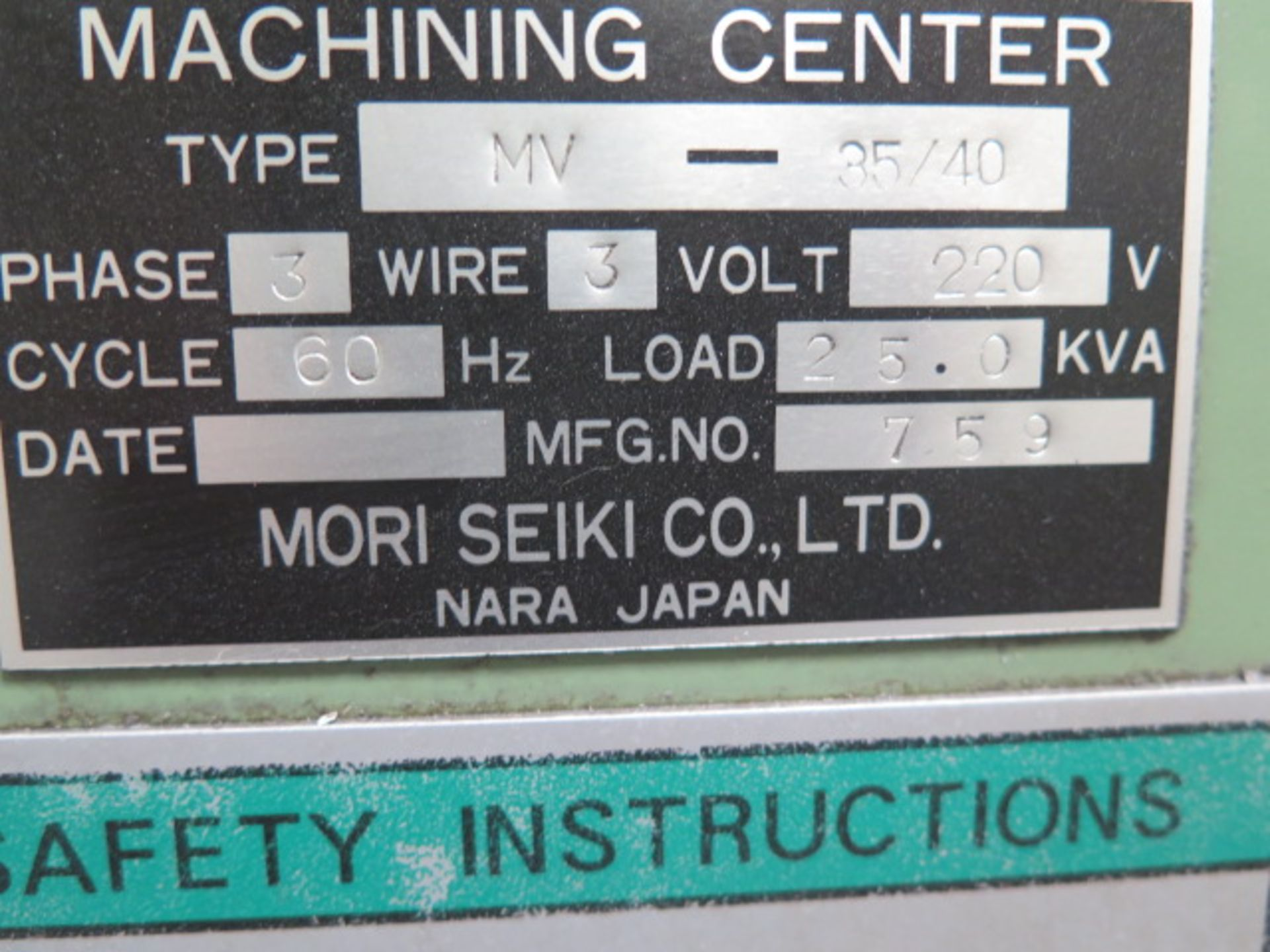 Moti Seiki MV-35/40 CNC VMC s/n 759 w/ Fanuc System 11M Controls, 20-Station ATC, SOLD AS IS - Image 14 of 14