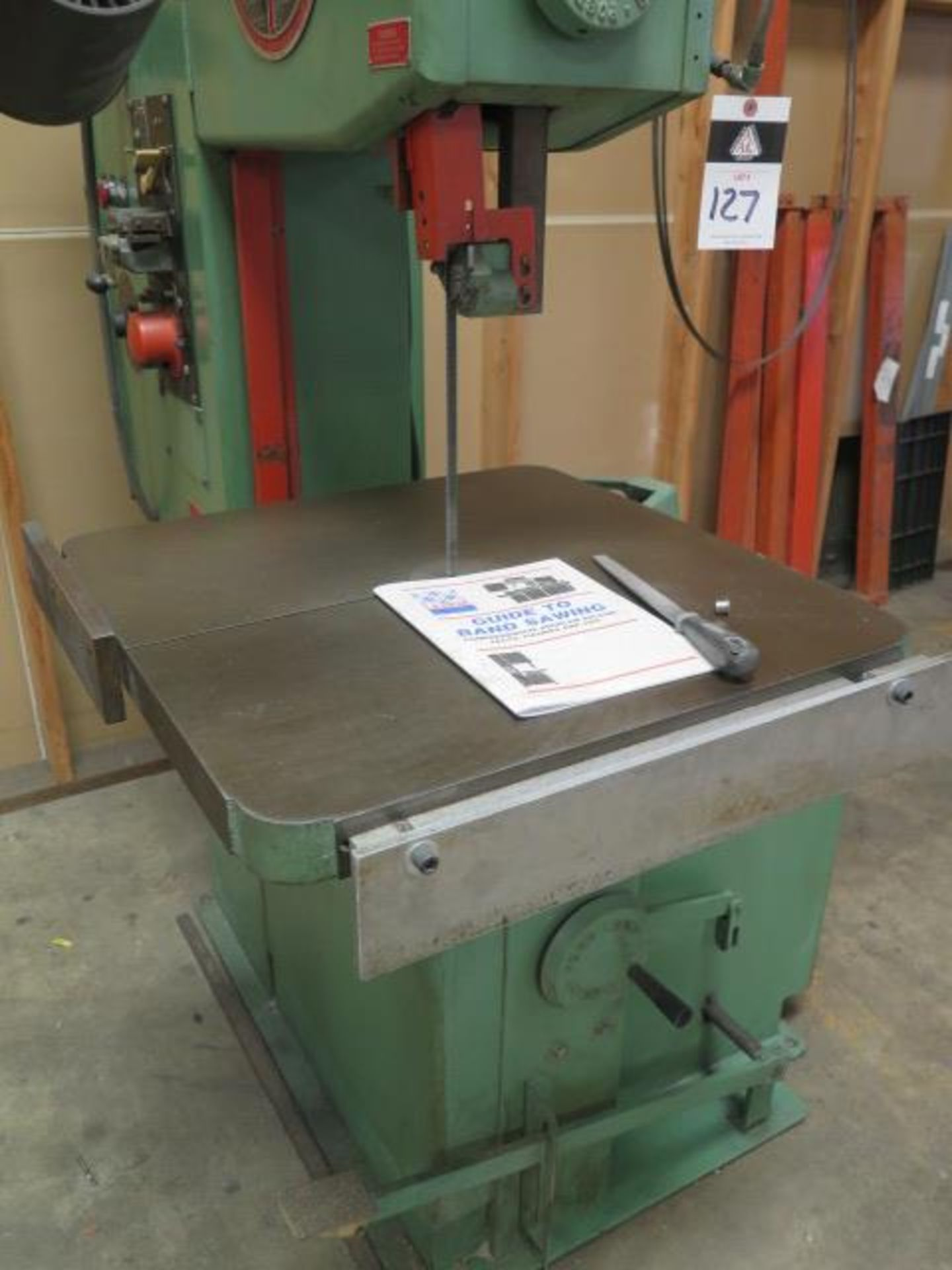 "DoAll 2013-10 20"" Vertical Band Saw s/n 377-861259 w/ Welder, 0-5200 RPM 26"" x 26"" Table, SOLD AS IS - Image 8 of 11"