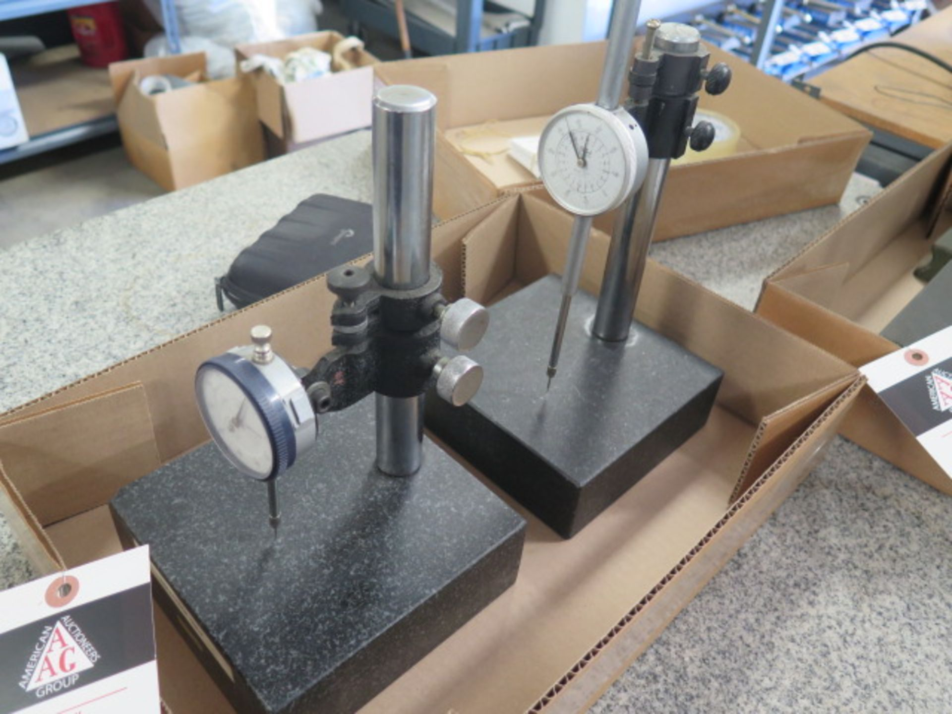 """6"""" x 6"""" Granite Indicator Stands (2) w/ Dial Indicators (SOLD AS-IS - NO WARRANTY) - Image 2 of 4"""