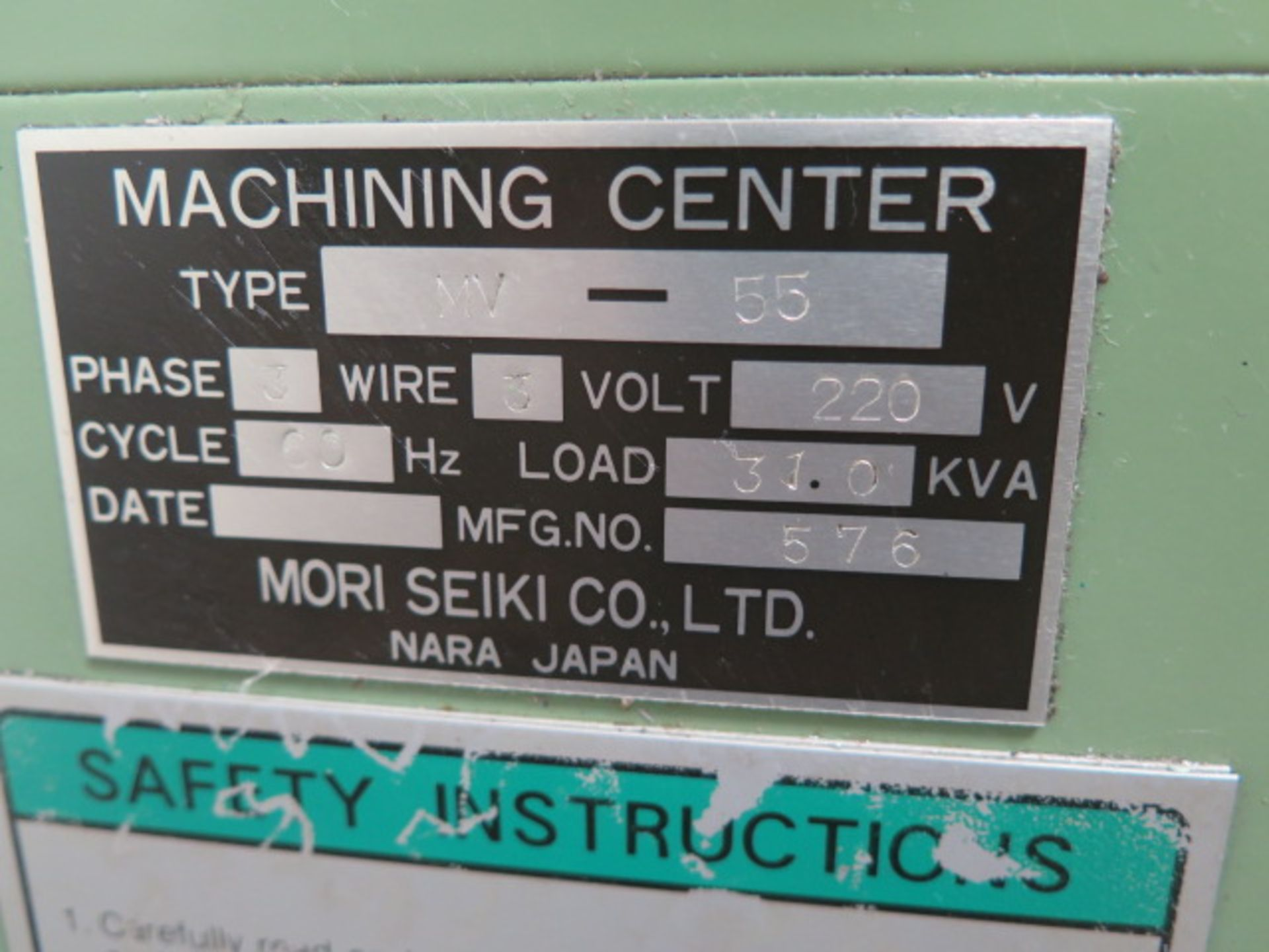 Mori Seiki MV-55 CNC Vertical Machining Center s/n 576 w/ Fanuc System 11M Controls, 24-Station ATC, - Image 13 of 13