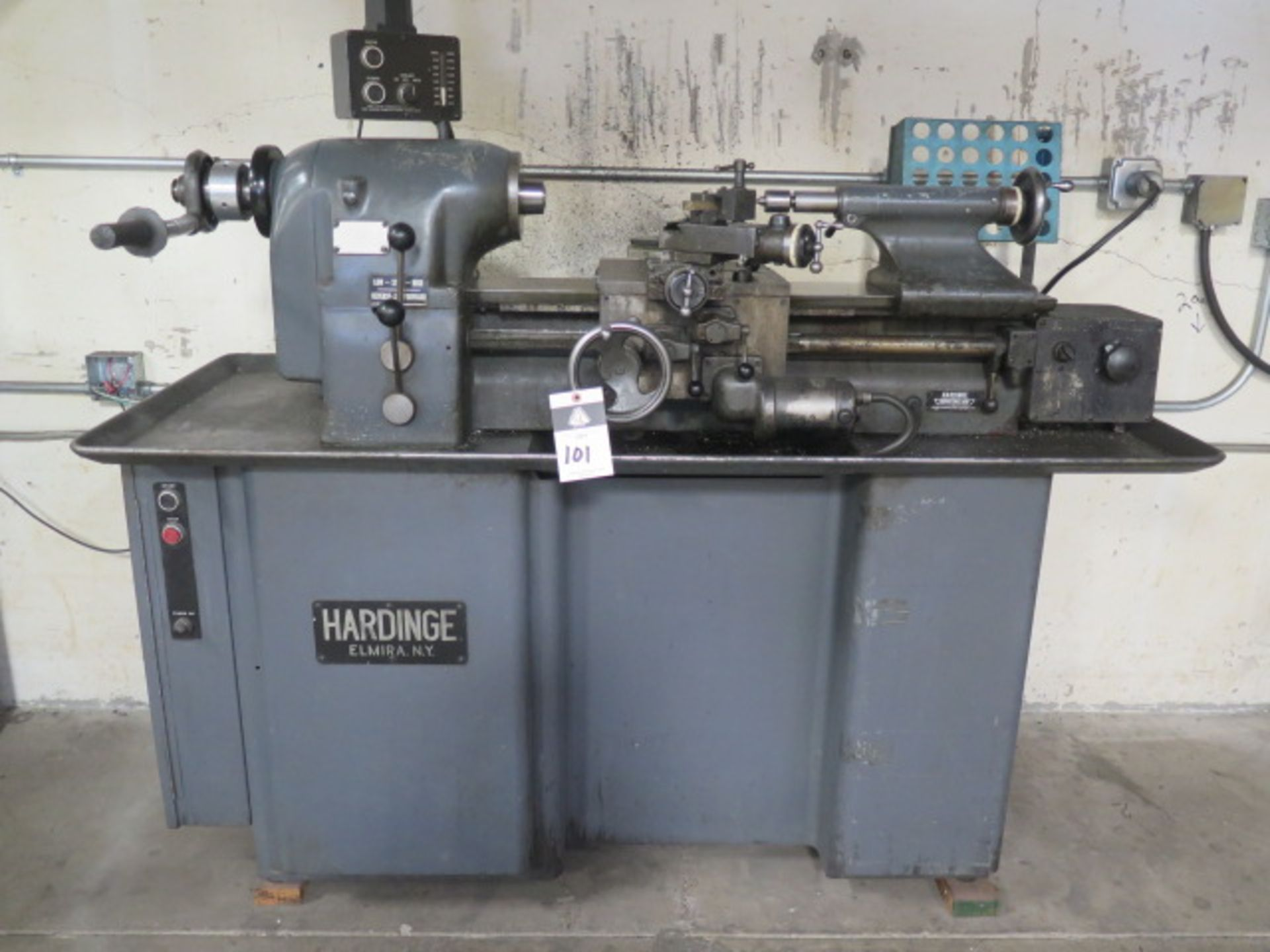 Hardinge TFB-H Wide Bed Lathe w/ 125-3000 RPM, Tailstock, Power Feed, 5C Collet Closer, Coolant (