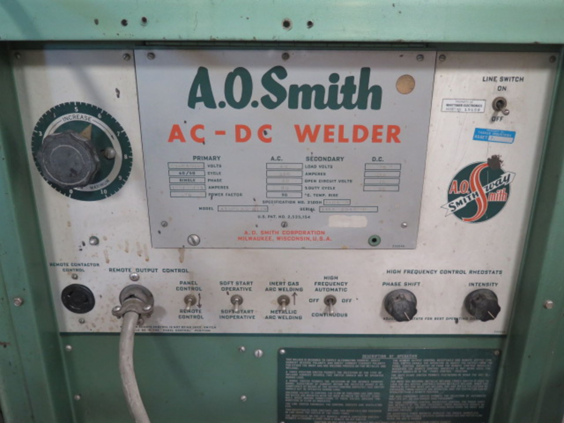 AO Smith A3000AD AFGW AC/DC Arc Welding Power Source s/n 1453-6043-8 (SOLD AS-IS - NO WARRANTY) - Image 4 of 8