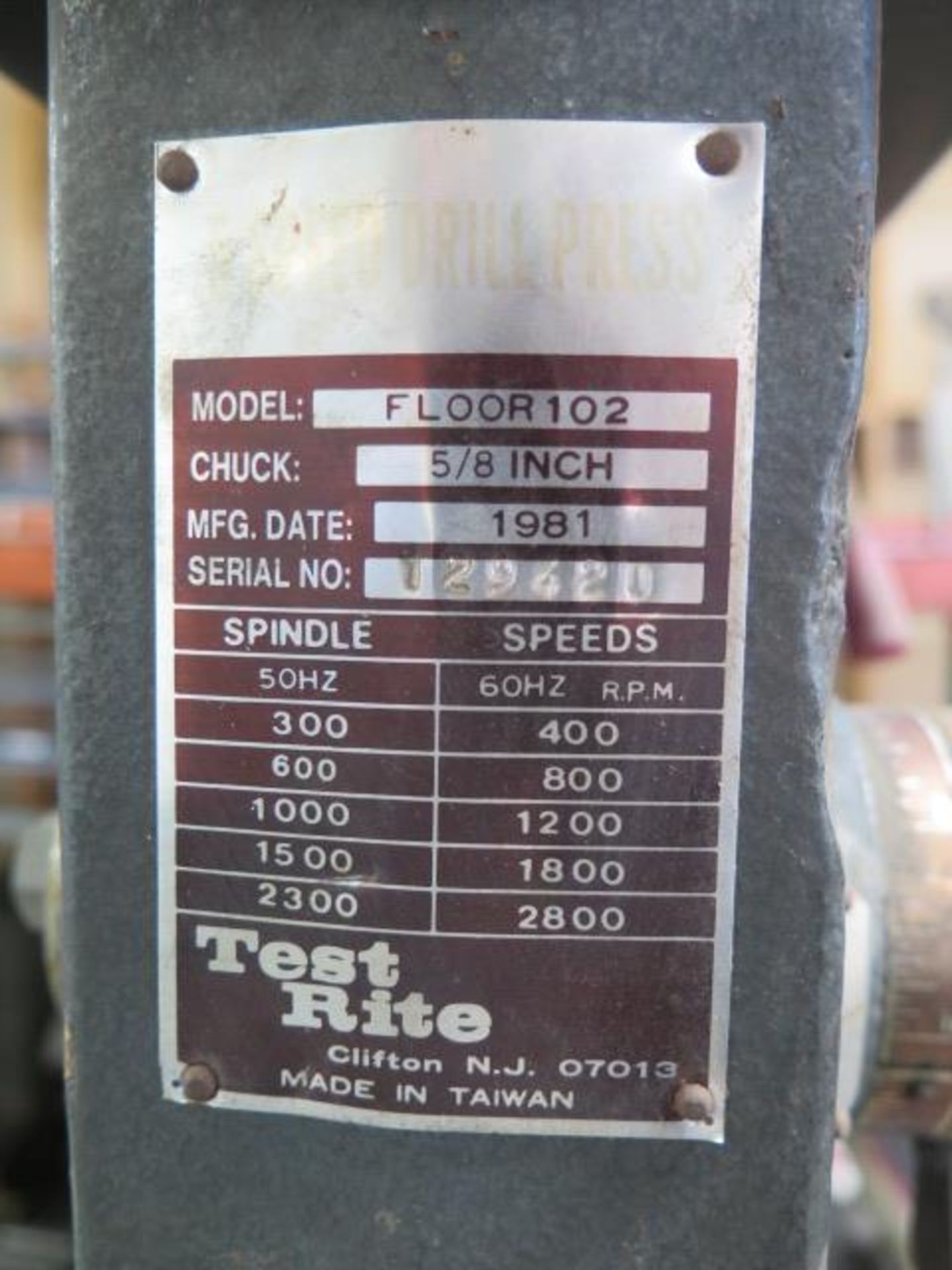 Test Rite Pedestal Drill Press (SOLD AS-IS - NO WARRANTY) - Image 5 of 6