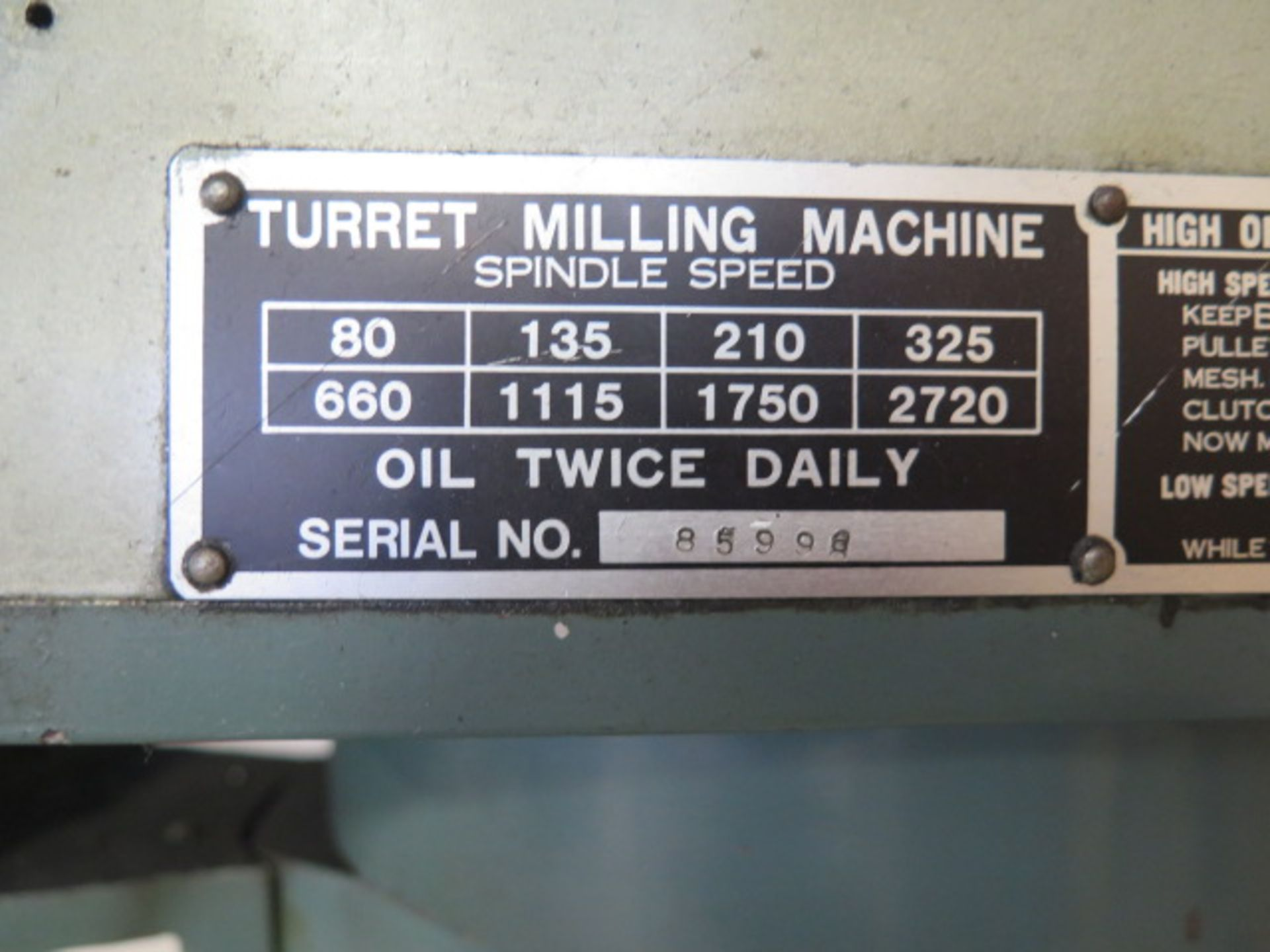 """Import Vertical Mill w/ 3Hp Motor, 80-2720 RPM, 8-Speeds, R8 Spindle, 10"""" x 48"""" Table (SOLD AS- - Image 5 of 9"""