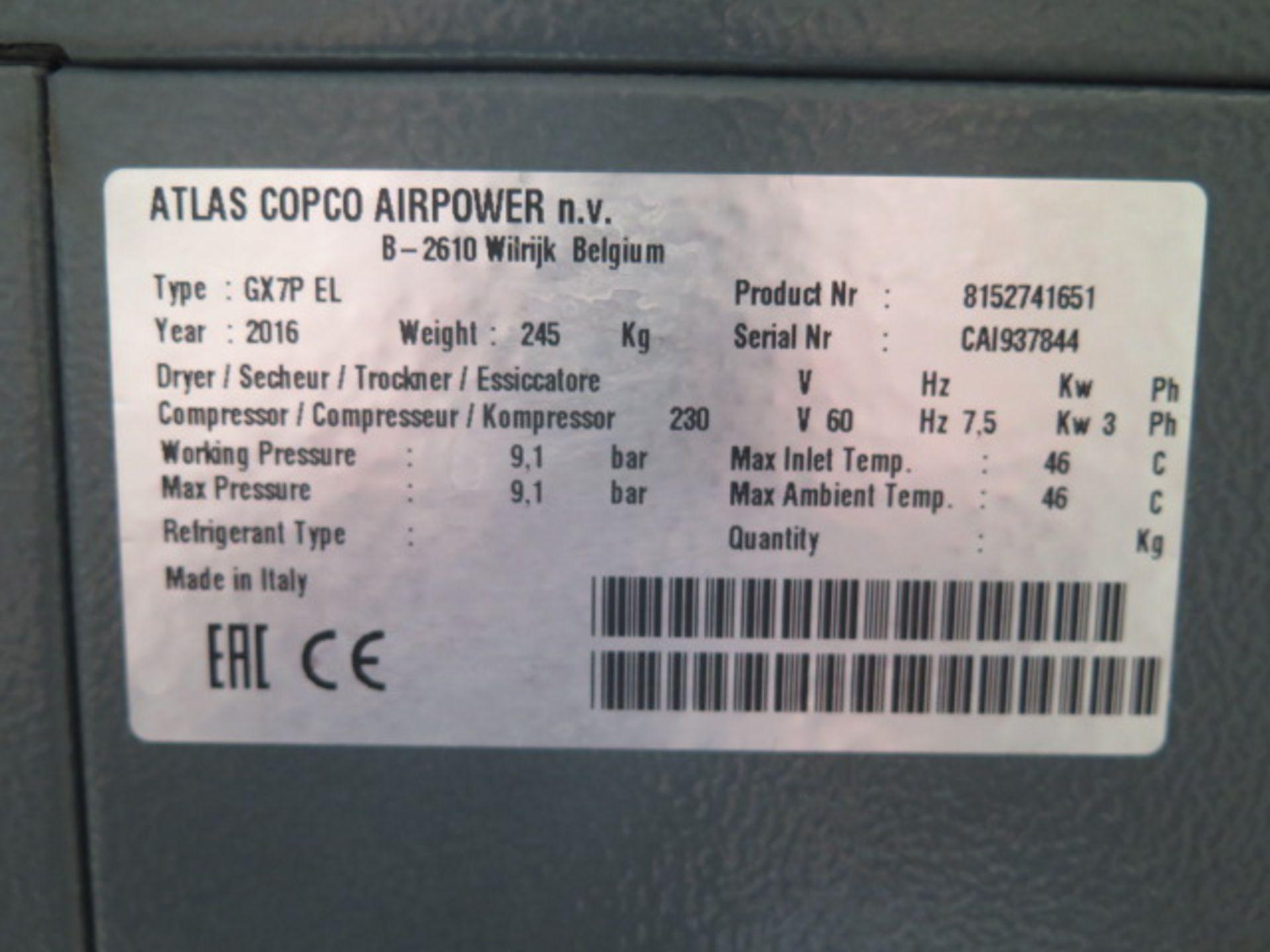 2016 Atlas Copco GX7P EL 10Hp Rotary Air Compressor s/n CAI937844 w/ Atlas Copco Controls, 60 Gallon - Image 10 of 15