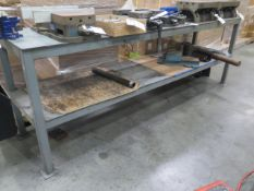 """24"""" x 99"""" Steel Table w/ Wilton 4 1/2"""" Bench Vise (SOLD AS-IS - NO WARRANTY)"""
