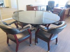 Glass Top Conference Table, Office Furniture, Book Shelves and Chairs (SOLD AS-IS - NO WARRANTY)