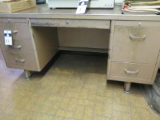 Desks (3), Table and Shelf w/ Misc (SOLD AS-IS - NO WARRANTY)