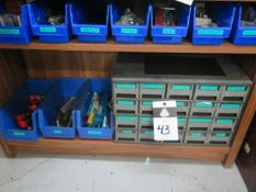 Misc Tooling, Endmills, Taps, Reamers, Key-SCutters w/ Drawered Cabinet and Bins (SOLD AS-IS - NO