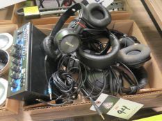 Pyle Stereo Power Amp and Misc Head Phones (SOLD AS-IS - NO WARRANTY)