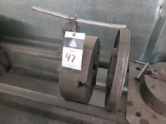 """12"""" 3-Jaw chuck 19"""" and 12"""" Face Plates w/ Rack (SOLD AS-IS - NO WARRANTY)"""