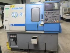Hyundai Hit-8F CNC Turning Center s/n 14757011 w/ Fanuc 0-T Controls, 8-Station Turret, SOLD AS IS