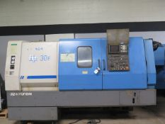 Hyundai Hit-30F CNC Turning Center w/ Fanuc Series 0-T Controls, 16-Station Turret, SOLD AS IS