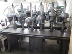 """Delta 6-Head Gang Drill Press w/ 4-Speed Heads, 23 ¾"""" x 95"""" Table(SOLD AS-IS - NO WARRANTY)"""