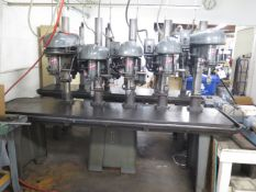 """Delta 5-Head Gang Drill Press w/ 5-Speed Heads, 23 ¾"""" x 95"""" Table(SOLD AS-IS - NO WARRANTY)"""