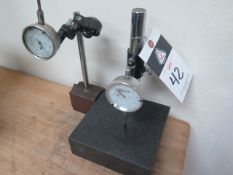 """6"""" x 6"""" Granite Indicator Stand w/ Dial Drop Indicator (SOLD AS-IS - NO WARRANTY)"""