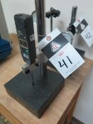 """6"""" x 6"""" Granite Indicator Stand w/ Mitutoyo Digital Indicator (SOLD AS-IS - NO WARRANTY)"""