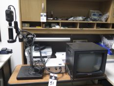 Leica Video Inspection Scope w/ Panasonic KR212 Color Camers, Monitor, Light Source and Table (