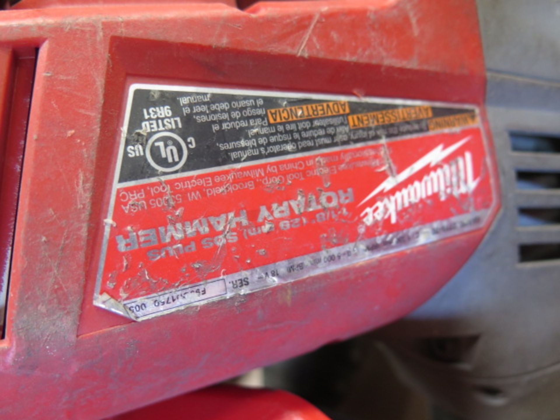 """Milwaukee 18 Volt 1 1/8"""" Rotary Hammers (3) (SOLD AS-IS - NO WARRANTY) - Image 5 of 5"""