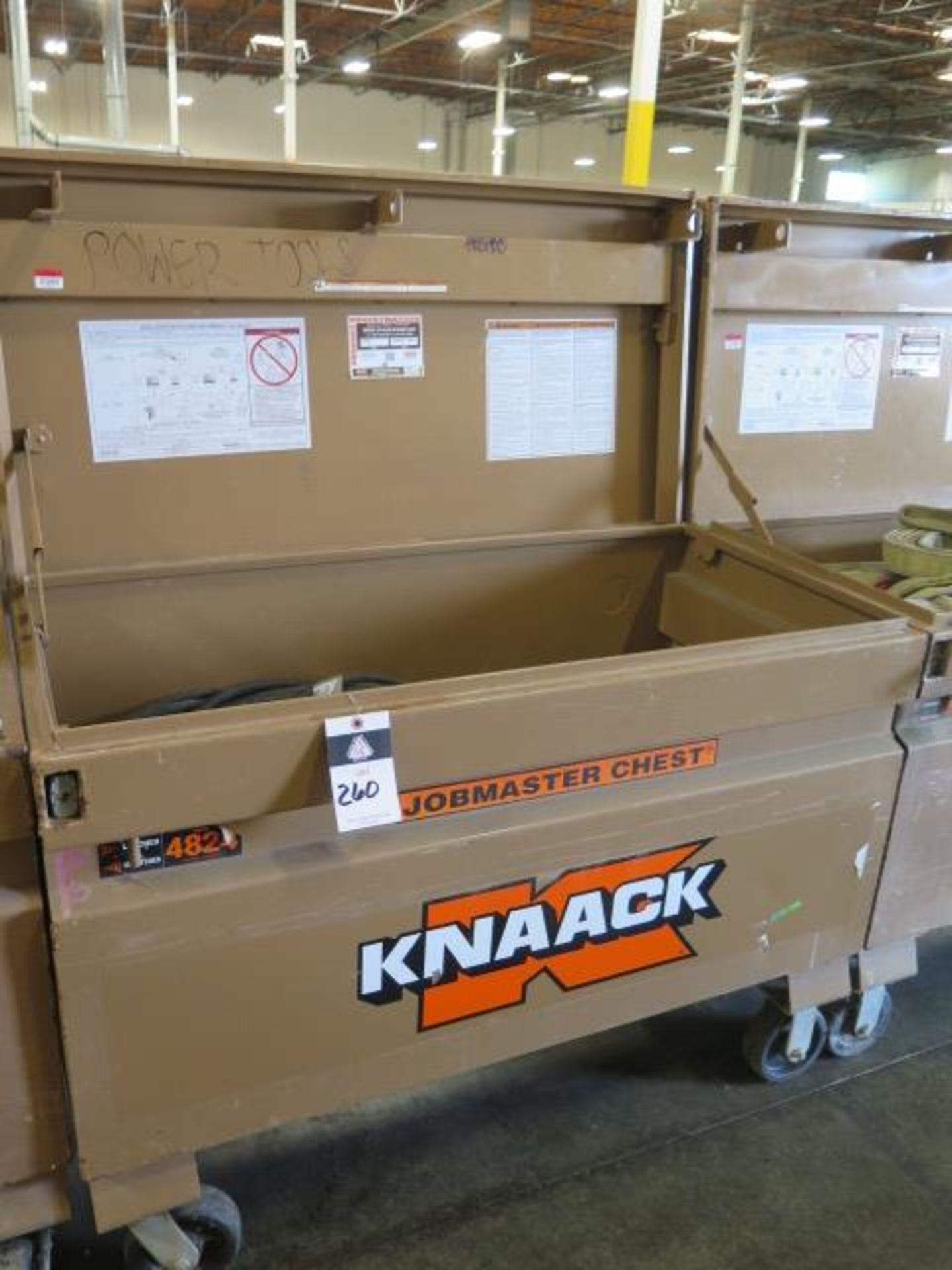 Knaack 4824 Rolling Job Box w/ 240V Extension Cords (SOLD AS-IS - NO WARRANTY)